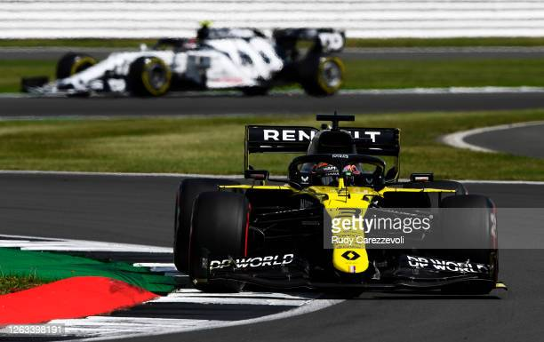 Daniel Ricciardo of Australia driving the Renault Sport Formula One Team RS20 on track during the F1 Grand Prix of Great Britain at Silverstone on...