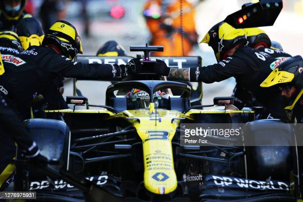 Daniel Ricciardo of Australia driving the Renault Sport Formula One Team RS20 stops in the Pitlane during the F1 Grand Prix of Russia at Sochi...