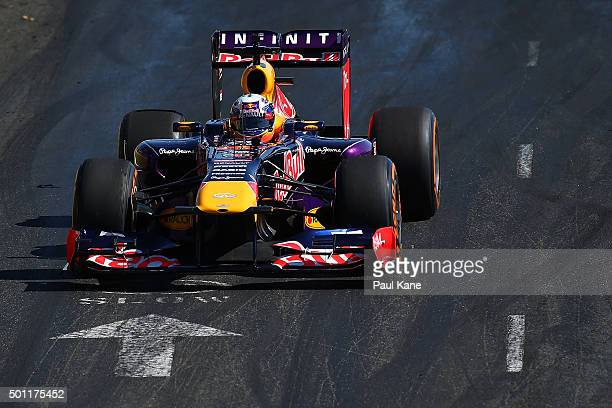 Daniel Ricciardo of Infiniti Red Bull Racing drives during the Perth Speed Fest at Perth Motorplex on December 13 2015 in Perth Australia