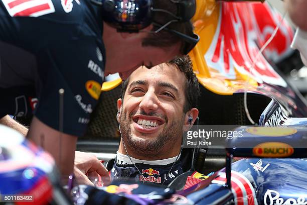 Daniel Ricciardo of Infiniti Red Bull Racing is prepared for a run during the Perth Speed Fest at Perth Motorplex on December 13 2015 in Perth...
