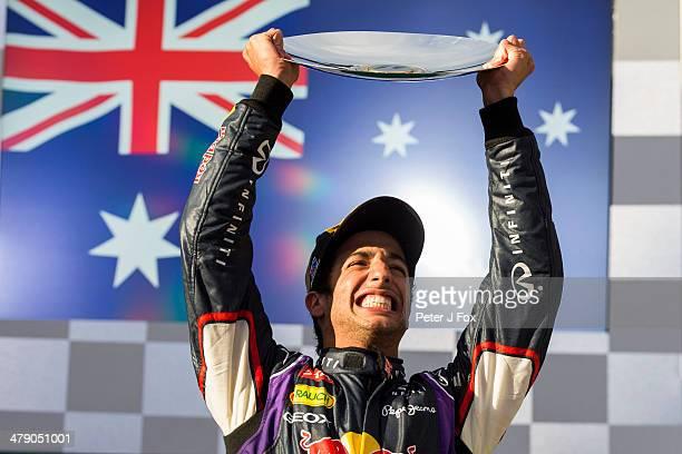 Daniel Ricciardo of Red Bull and Australia Celebrates finishing 2nd at the Australian F1 Grand Prix at Albert Park on March 16 2014 in Melbourne...