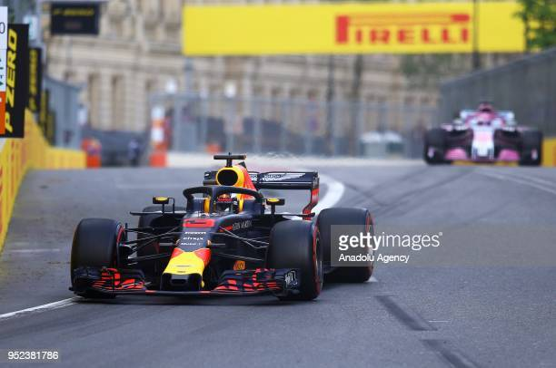 Daniel Ricciardo of Red Bull competes during the qualification lap of 2018 Formula One Azerbaijan Grand Prix in Baku Azerbaijan on April 28 2018