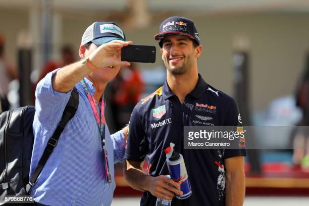 Daniel Ricciardo of Red Bull Racing in the paddock during the Abu Dhabi Formula One Grand Prix