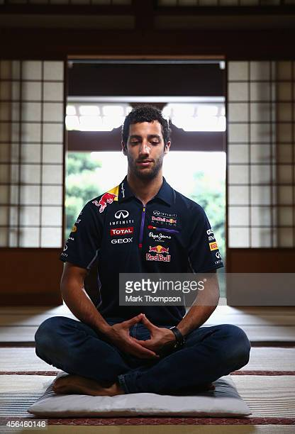 Daniel Ricciardo taking part in Zazen Zen meditation at the Zenshoan Temple in Tokyo ahead of the Japanese Formula One Grand Prix at Suzuka Circuit...