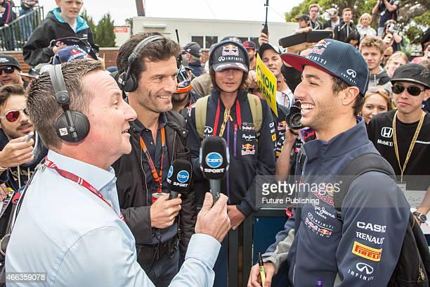 Daniel Ricciardo with Mark Webber on race day for the 2015 Australian Formula 1 Grand Prix on March 15 2015 in Melbourne Australia Chris Putnam /...