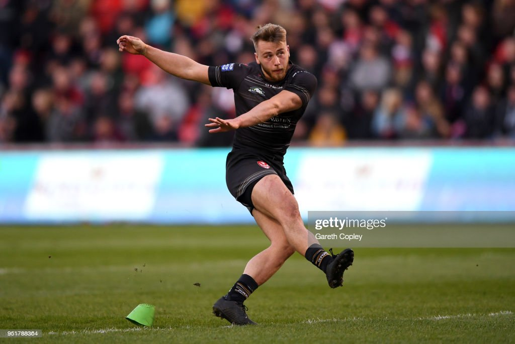 Daniel Richardson of St Helens during the Betfred Super League match between Salford Red Devils and St Helens at AJ Bell Stadium on April 26, 2018 in Salford, England.
