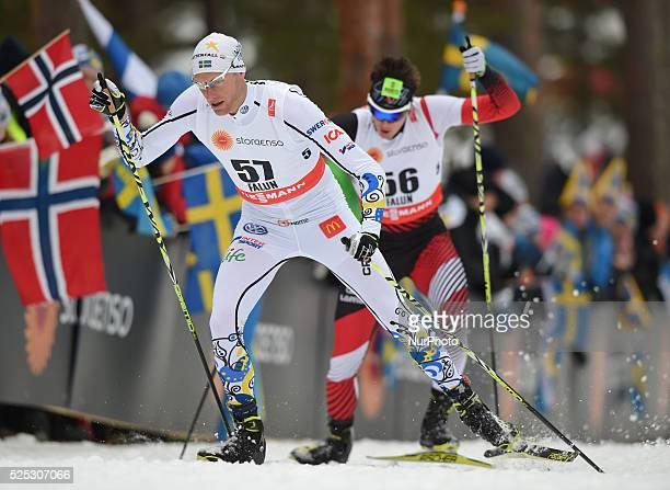 Daniel Richardsonr and Max Hauke during the 15km Men Individual podium at the FIS Nordic World Championship 2015 in Falun Sweden 25 February 2015...