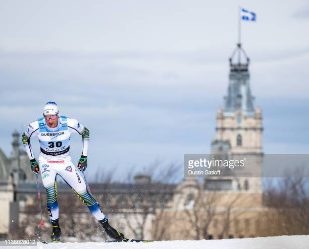 Daniel Rickardsson of Sweden competes in the Men's 15km freestyle pursuit during the FIS Cross Country Ski World Cup Final on March 24, 2019 in...