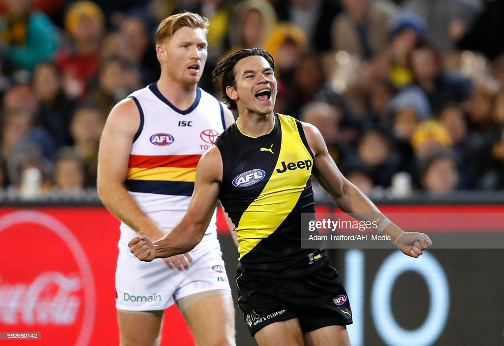 Daniel Rioli of the Tigers celebrates a goal during the 2018 AFL round 16 match between the Richmond Tigers and the Adelaide Crows at the Melbourne Cricket Ground on July 06, 2018 in Melbourne, Australia.
