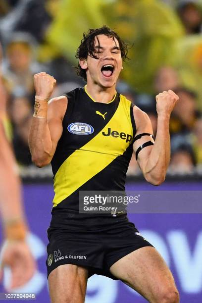 Daniel Rioli of the Tigers celebrates kicking a goal during the AFL First Qualifying Final match between the Richmond Tigers and the Hawthorn Hawks...