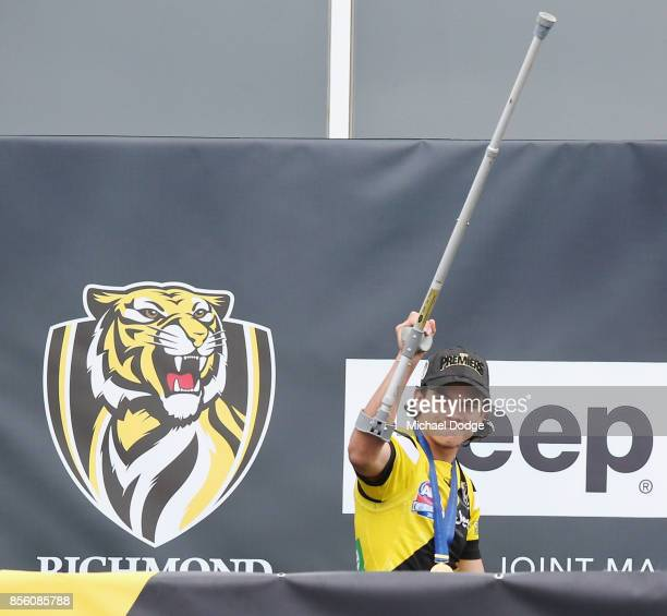 Daniel Rioli of the Tigers celebrates winning yesterday's AFL Grand Final at Punt Road Oval on October 1 2017 in Melbourne Australia