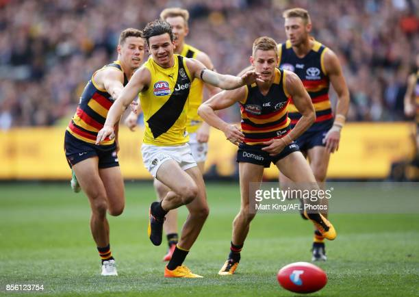 Daniel Rioli of the Tigers competes for the ball during the 2017 AFL Grand Final match between the Adelaide Crows and the Richmond Tigers at...