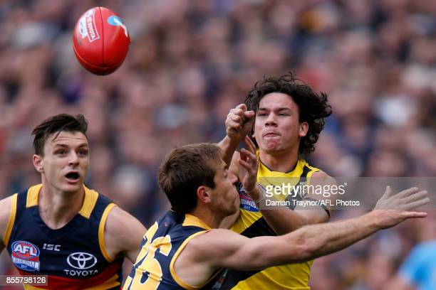 Daniel Rioli of the Tigers handballs during the 2017 AFL Grand Final match between the Adelaide Crows and the Richmond Tigers at Melbourne Cricket...