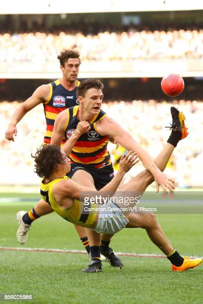 Daniel Rioli of the Tigers kicks during the 2017 AFL Grand Final match between the Adelaide Crows and the Richmond Tigers at Melbourne Cricket Ground...