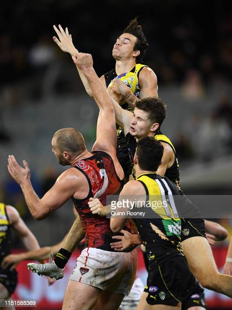 Daniel Rioli of the Tigers marks during the round 10 AFL match between the Richmond Tigers and the Essendon Bombers at Melbourne Cricket Ground on...