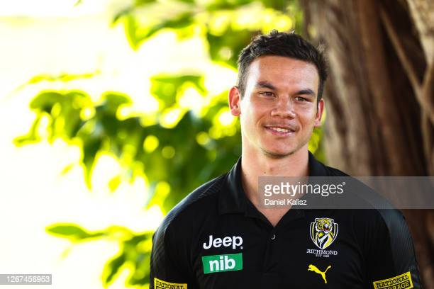 Daniel Rioli of the Tigers speaks to the media prior to a Richmond Tigers AFL training session at TIO Stadium on August 21, 2020 in Darwin, Australia.