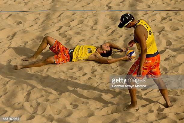 Daniel Rivera and Ricardo Padilla Rivera from Puerto Rico upset during a beach volleyball match between Belarus and Puerto Rico at the FIVB Beach...