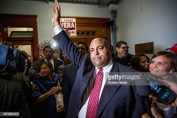 Daniel Rivera announces his win for mayor to a large group of supporters at Lawrence City Hall