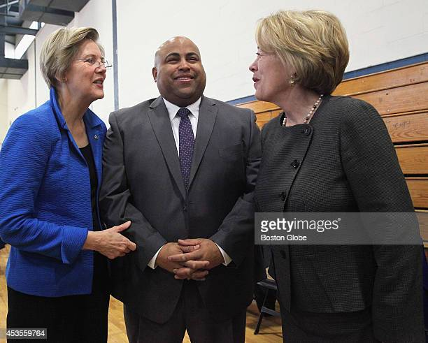Daniel Rivera chatted with US Senator Elizabeth Warren left and US Representative Niki Tsongas before the start of his mayoral inauguration ceremony...