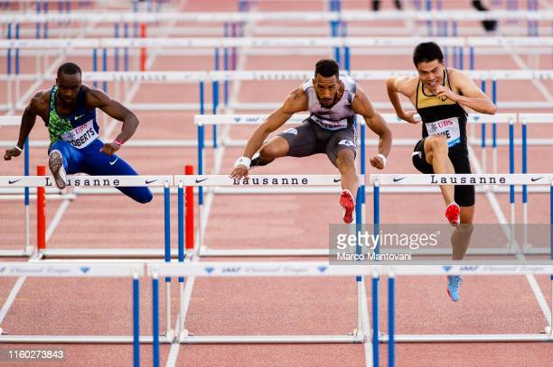 Daniel Roberts Orlando Ortega and Wenjun Xie compete in men's 110m Hurdles on July 05 2019 in Lausanne Switzerland
