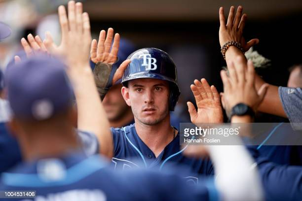 Daniel Robertson of the Tampa Bay Rays celebrates scoring a run against the Minnesota Twins during the game on July 15 2018 at Target Field in...