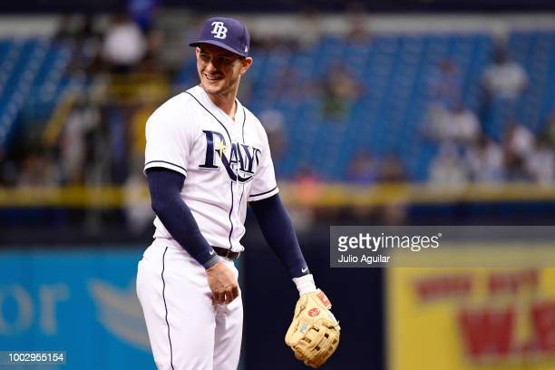 Daniel Robertson of the Tampa Bay Rays looks on in the first inning against the Miami Marlins on July 20 2018 at Tropicana Field in St Petersburg...