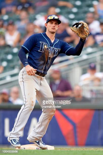 Daniel Robertson of the Tampa Bay Rays makes a play at first base against the Minnesota Twins during the game on July 15 2018 at Target Field in...