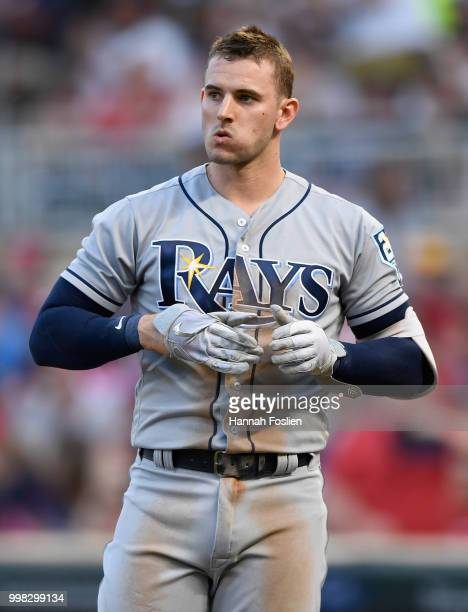 Daniel Robertson of the Tampa Bay Rays reacts to striking out against the Minnesota Twins during the second inning of the game on July 13 2018 at...