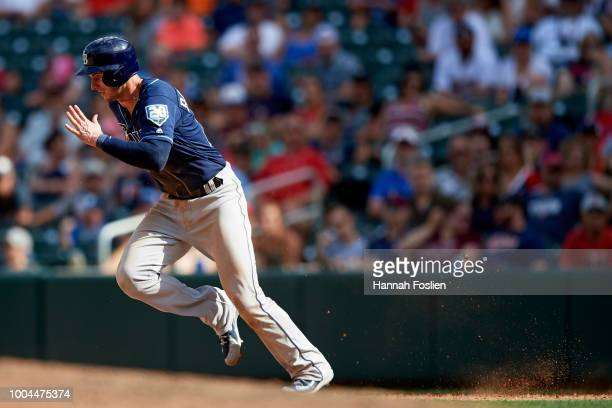 Daniel Robertson of the Tampa Bay Rays runs the bases against the Minnesota Twins during the game on July 15 2018 at Target Field in Minneapolis...