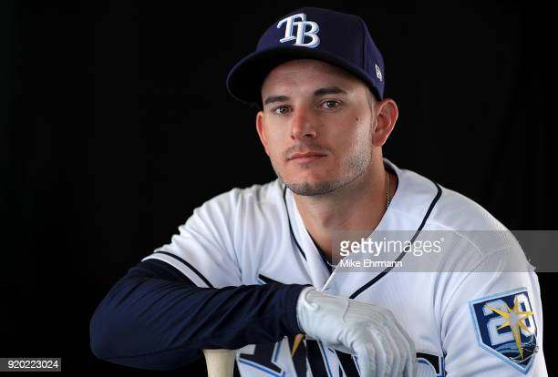 Daniel Robertson of the Tampa Bay Rays sits for a portrait during photo day at Charlotte Sports Park on February 18 2018 in Port Charlotte Florida