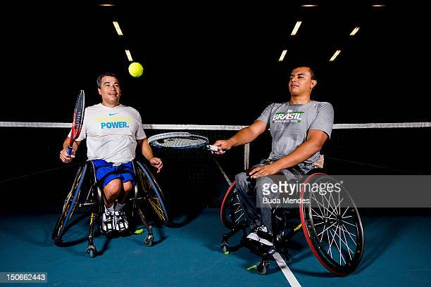 Daniel Rodrigues and Rafael Medeiros during a wheelchair tennis training session at the Brazilian Paralympic team's camp in Sportcity Centre on...