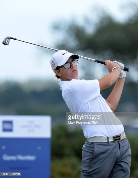 Daniel Rodrigues of Portugal plays his tee shot at the 10th hole during the final day of the The Junior Open Championship at Eden Golf Course on July...
