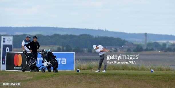Daniel Rodrigues of Portugal plays his tee shot at the 8th hole during the final day of the The Junior Open Championship at Eden Golf Course on July...