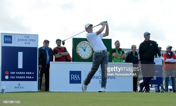 Daniel Rodrigues of Portugal plays his tee shot to the 1st hole during the final day of the The Junior Open Championship at Eden Golf Course on July...