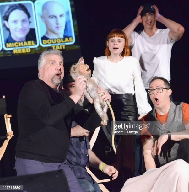 Daniel Roebuck Augie Duke Douglas Tait and Jim Nieb promote 'Barney Burman's Wild Boar' onstage on day 2 of Monsterpalooza held at Pasadena...