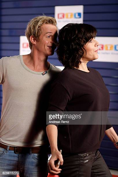 Daniel Roesner and Birgit Schrowange fool around seen in the studio of the RTL Telethon TV show on November 24 2016 in Cologne Germany The telethon...