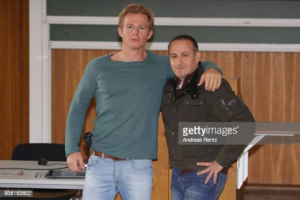 Daniel Roesner and Erdogan Atalay are seen on set during the 'Alarm fuer Cobra 11' photocall on March 26 2018 in Cologne Germany