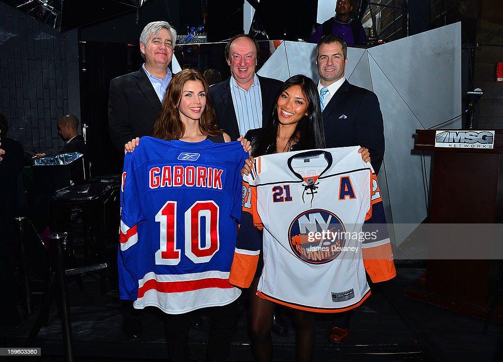 Daniel Ronayne, Alejandra Cata, guest, Meki Saldana and guest attend MSG Networks' 2013 NHL Hockey Season Celebration at Toy Restaurant on January 16, 2013 in New York City.