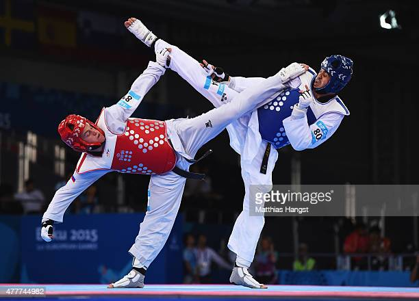 Daniel Ros Gomez of Spain and Ivan Konrad Trajkovic of Slovenia compete in the Men's 80kg Taekwondo bronze medal final during day seven of the Baku...