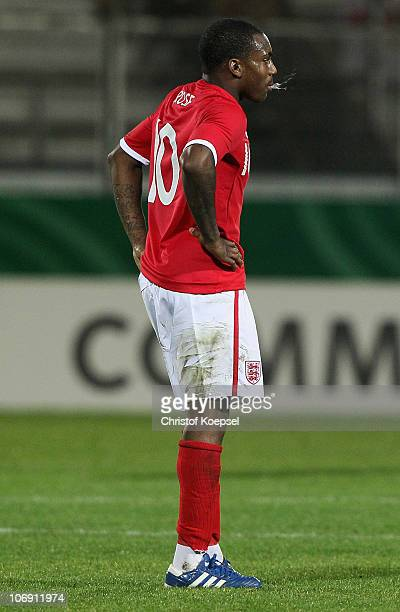 Daniel Rose of England looks dejected after the U21 international friendly match between Germany and England at the Brita Arena on November 16 2010...