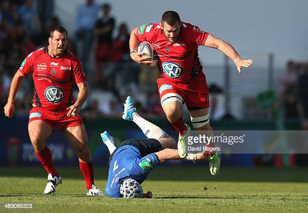 Daniel Rossouw of Toulon moves past Shane Jennings during the Heineken Cup quarter final match between Toulon and Leinster at the Felix Mayol Stadium...