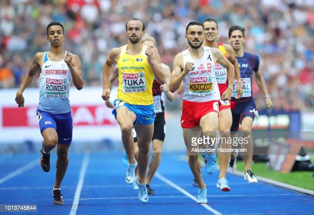Daniel Rowden of Great Britain Amel Tuka of Bosnia and Herzegovina and Adam Kszczot of Poland compete in the Men's 800m Qualification start during...