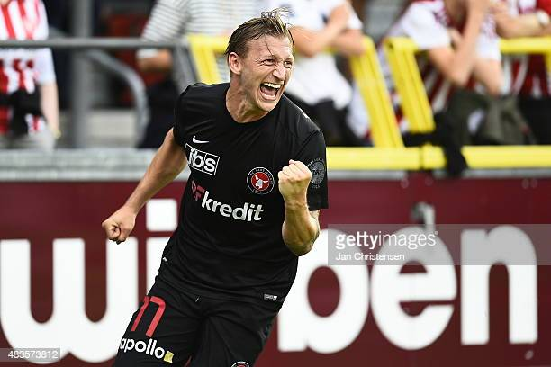 Daniel Royer of FC Midtjylland celebrate after his 01 goal during the Danish Alka Superliga match between AaB Aalborg and FC Midtjylland at Nordjyske...