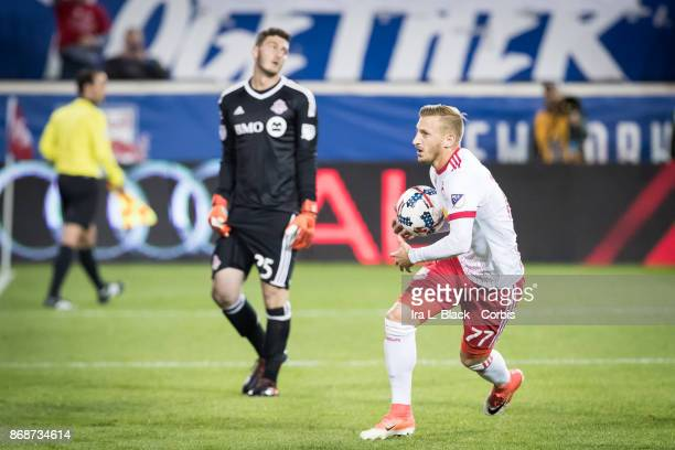 Daniel Royer of New York Red Bulls celebrates after kicking a goal during the MLS match between New York Red Bulls and Toronto FC at Red Bull Arena...