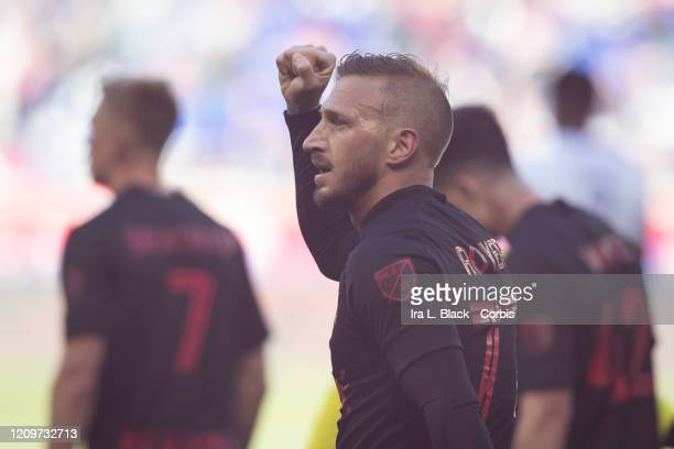 Daniel Royer of New York Red Bulls holds up his fist to celebrate after scoring a goal during 2nd half of the Major League Soccer Match between New...