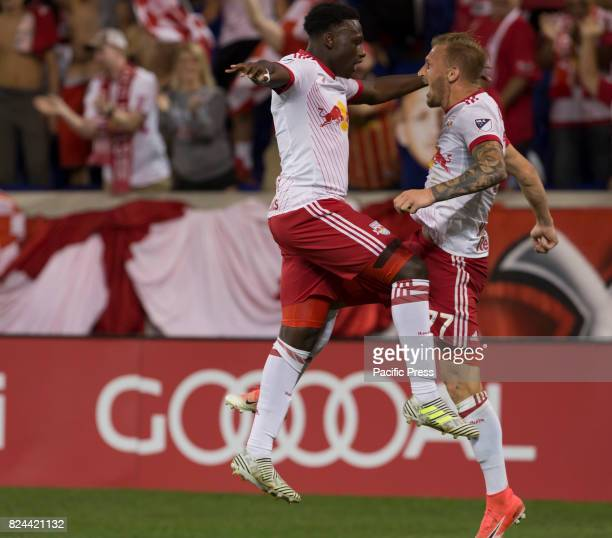 Daniel Royer of Red Bulls celebrates 2nd goal during MLS game between New York Red Bulls and Montreal Impact on Red Bull arena Red Bulls won 4 0