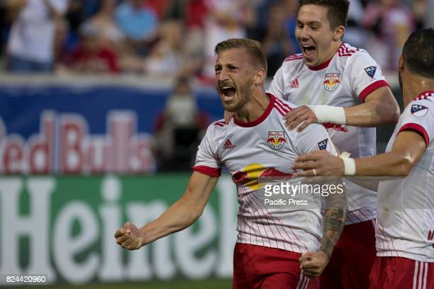 Daniel Royer of Red Bulls celebrates scoring 1st goal during MLS game between New York Red Bulls and Montreal Impact on Red Bull arena Red Bulls won...