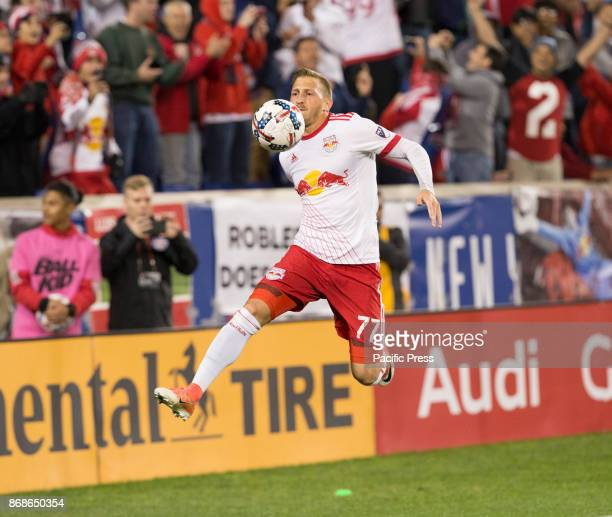 Daniel Royer of Red Bulls celebrates scoring penalty goal during MLS Cup first leg game against Toronto FC at Red Bull Arena Toronto won 2 1