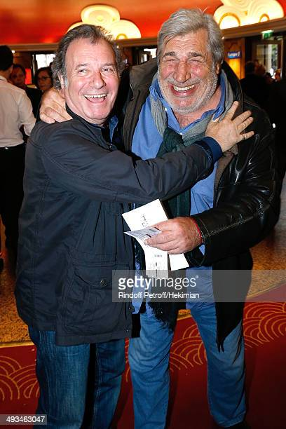 Daniel Russo and JeanPierre Castaldi attend the 'Bigard Fete Ses 60 Ans' One Man Show at Le Grand Rex on May 23 2014 in Paris France