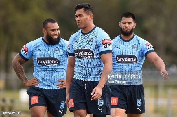 Daniel Saifiti during a New South Wales Blues State of Origin training session at Ned Byrne Field on June 24, 2021 in Gold Coast, Australia.